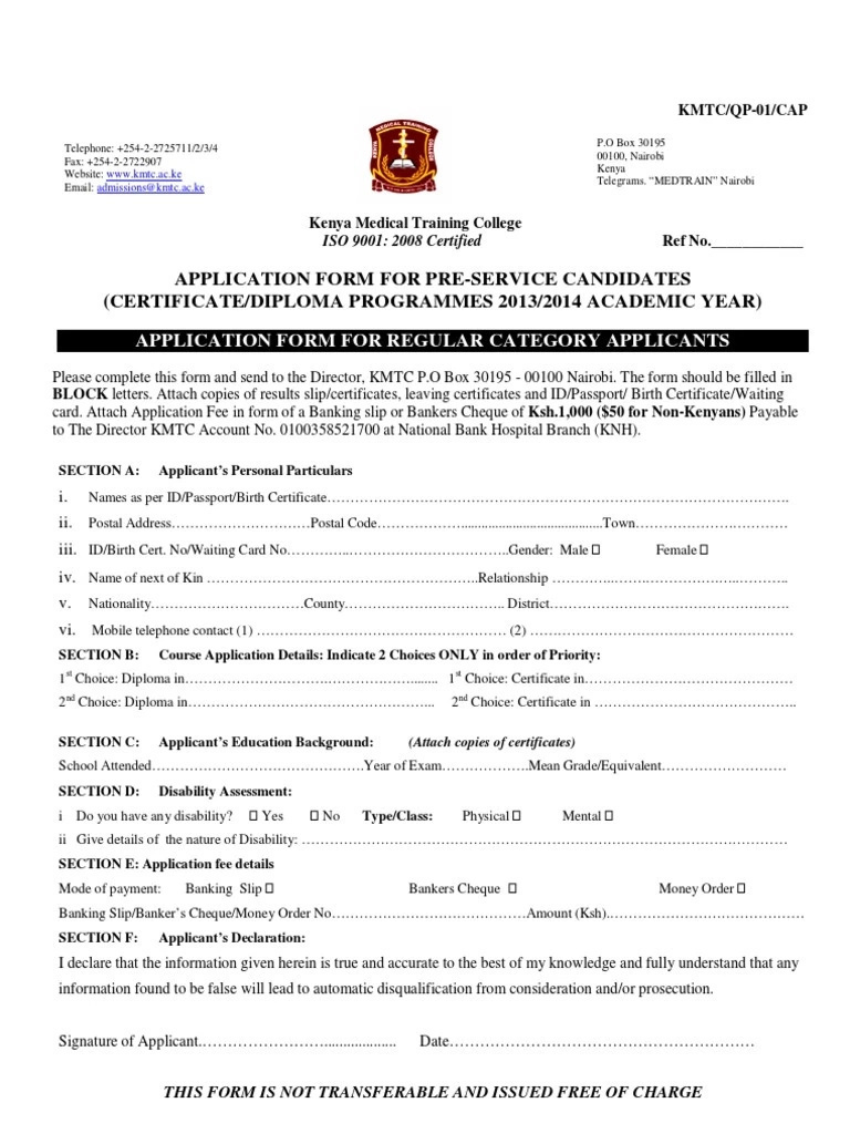 KMTC online application 2018-2019 Tuko.co.ke